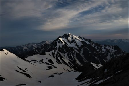 安定しない天気、剱岳2999mは遠く、龍王岳東尾根
